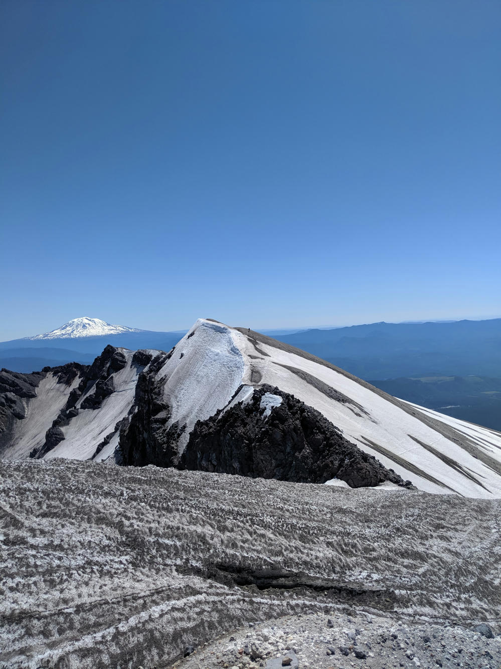 The summit of St. Helen's, with Adam's in the distance