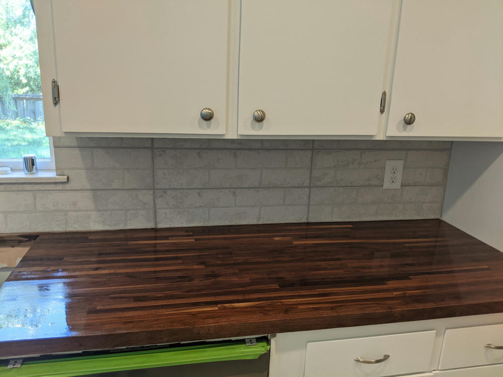Butcher block counter top with waterlox drying